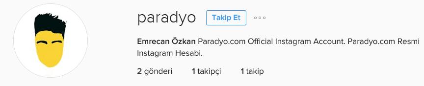 instagramda 1 takipçi paradyo