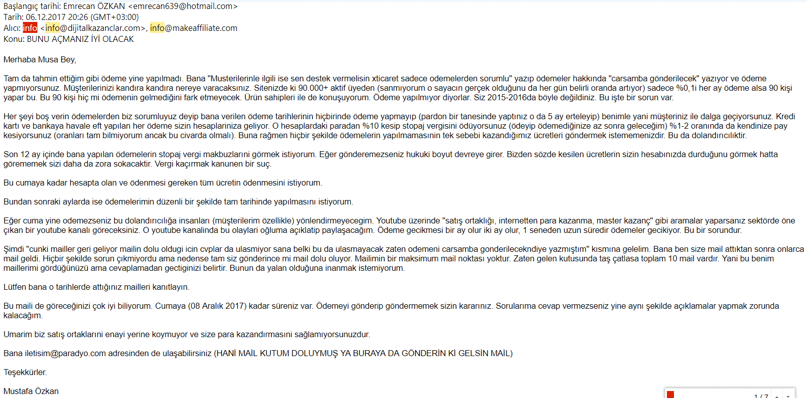 xticaret hakkında mail 3